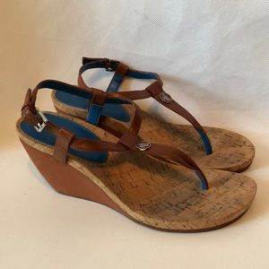 Lauren Ralph Lauren wedge sling back cork sandal 8